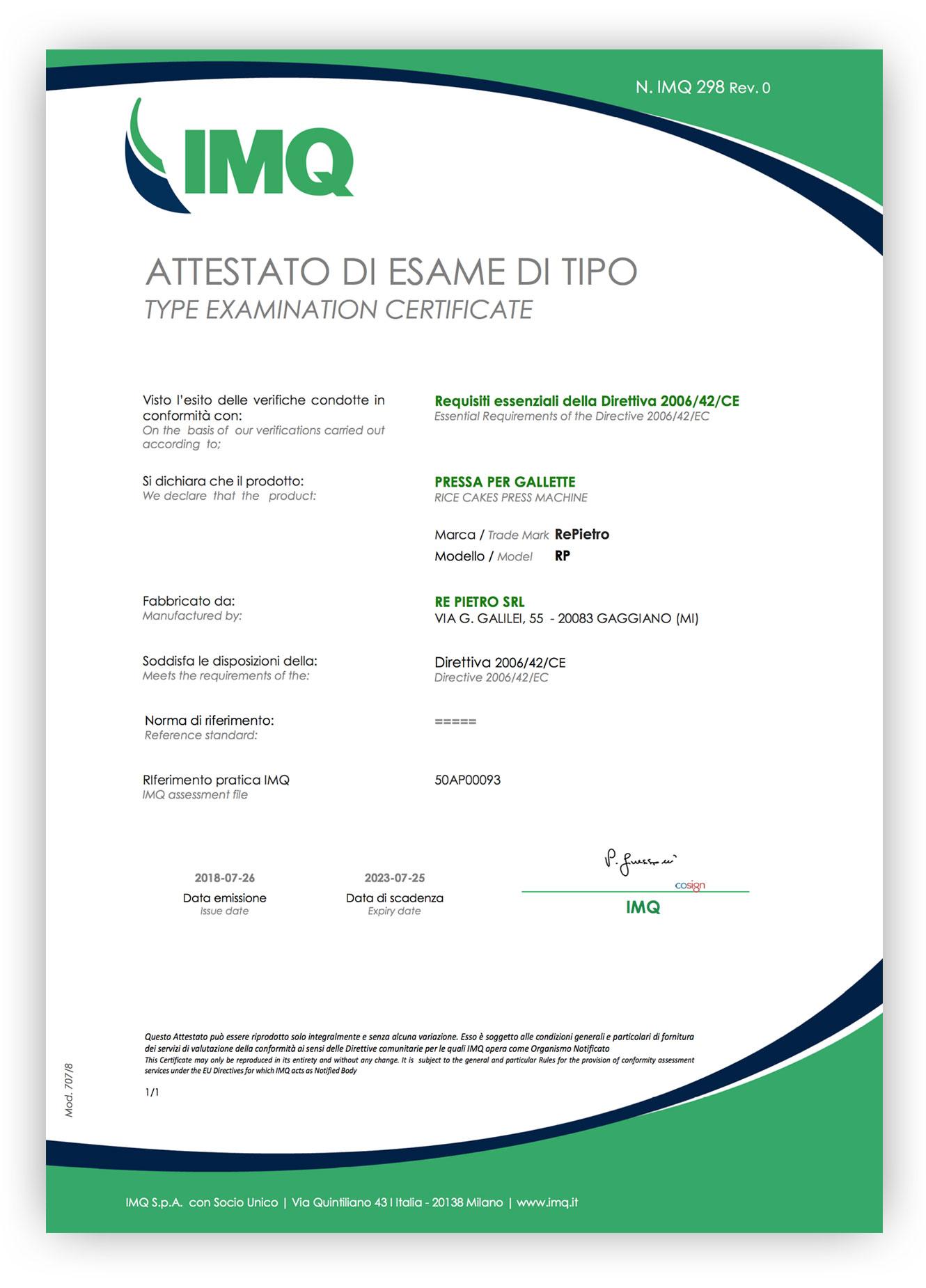 Certificato IMQ